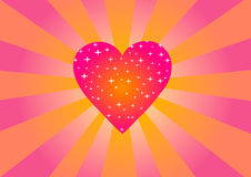 St. Valentine`s Day. Pink heart with stars. Vector illustration. St. Valentine`s Day. Pink heart with stars Royalty Free Stock Photography
