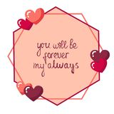 St.Valentine Day Heart Frame with love lettering stock image