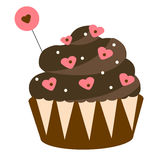 St Valentine`s day, romantic, love chocolate cupcake. Design element, icon Stock Image