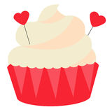 St Valentine`s day, romantic, love cupcake. Design element, icon, vector illustration Royalty Free Stock Images