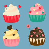 St Valentine`s day, romantic, love cupcakes. Design elements, icons, vector illustration. Sweet bakery with heart shape sprinkles Royalty Free Stock Image