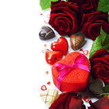 St. Valentine's Day roses and chocolate Royalty Free Stock Photography
