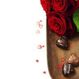 St. Valentine's Day roses and chocolate Stock Image