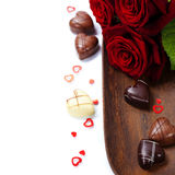 St. Valentine's Day roses and chocolate Stock Images