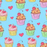 St. Valentine s Day seamless pattern with cupcakes. Vector illustration. stock illustration