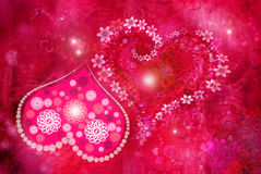 St. Valentine''s day texture. Heart from colors and hearts on a red background with sparse hearts stock illustration