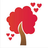 St. valentine's day tree with hearts Stock Image