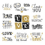 St. Valentine`s Day vector hand lettering text compositions Royalty Free Stock Photography
