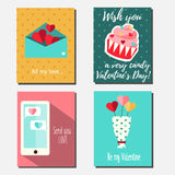St Valentine`s day vector vertical banners, greeting cards, party invitations design templates. Romantic holidays, love theme Royalty Free Stock Images