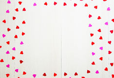 St Valentine`s Day vintage blank template with hearts and copy space Stock Photo