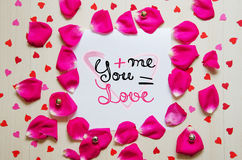 St Valentine`s Day vintage composition of greeting note with lettering Stock Photography