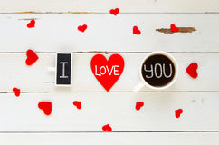 St Valentine`s Day vintage overhead composition of I love you confession Stock Photography
