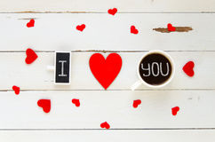 St Valentine`s Day vintage overhead composition of I love you confession Royalty Free Stock Images