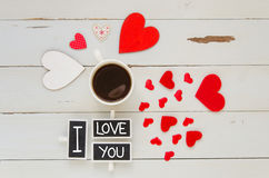 St Valentine`s Day vintage overhead composition with I love you confession Stock Image