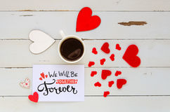 St Valentine`s Day vintage overhead composition of note with love confession Stock Photo