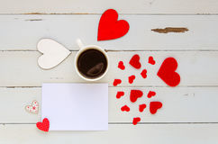 St Valentine`s Day vintage overhead template with blank note for confession Stock Photography