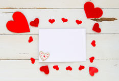 St Valentine`s Day vintage overhead template with blank note and hearts frame Stock Photo