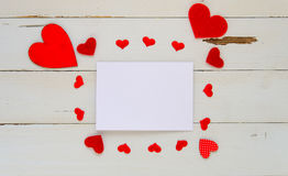 St Valentine`s Day vintage overhead template with blank note and hearts frame Royalty Free Stock Photography