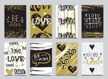 St Valentine ` s de kaartenontwerpen van de Daghand getrokken groet stock fotografie