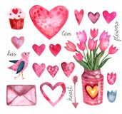 Watercolor set of elements for Valentine`s day vector illustration