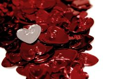 St-Valentine's hearts. In metallic colors Stock Image