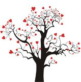 Red love hearts on tree Royalty Free Stock Image
