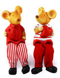St.Valentine's Mice with red Hearts. Photo of the statuettes on white background. Two mouse in red-white clothes with hearts Royalty Free Stock Photo