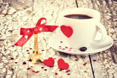 St Valentine's setting with coffee cup Stock Photo