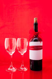St Valentine`s setting with present and red wine Stock Image