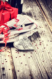 St Valentine's table setting with present Stock Photo