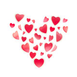 St. Valentine symbol made of hearts isolated Royalty Free Stock Images