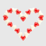 St. Valentine symbol made of hearts isolated. St. Valentine symbol made of bright glossy hearts isolated on grey Royalty Free Illustration