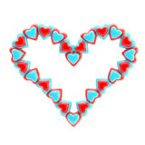 St. Valentine symbol made of hearts isolated Royalty Free Stock Photography