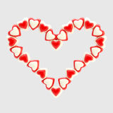 St. Valentine symbol made of hearts isolated Stock Photos