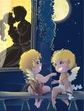 St.Valentine Tag. Karikatur mit Amoren Lizenzfreie Stockfotos