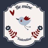 St Valentine& x27; tarjeta de felicitación del día de s con los pájaros Fotografía de archivo libre de regalías
