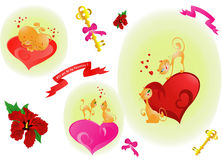 St. Valentines cats. (vector) Royalty Free Stock Image