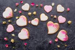 St valentines day flat lay with glazed heart shaped cookies Royalty Free Stock Image