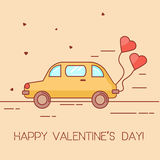 St Valentines day background, banner, greeting card with yellow car and heart shaped baloon. Linear art style Stock Photography