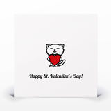 St. Valentines day card. With hand draw kitten Stock Images