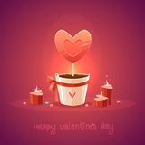 St. Valentines Day Card with topiary and candles Royalty Free Stock Photo