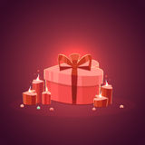St. Valentines Day Cartoon Background with present and candles Royalty Free Stock Photo