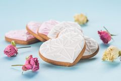 St valentines day flat lay with glazed heart shaped cookies Royalty Free Stock Photo