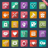 St. Valentines Day icons. Set of 25 St. Valentines Day icons in flat design Stock Photo