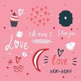St Valentines Day lettering and cute design elements collection Royalty Free Stock Photos