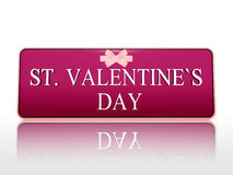 St. valentines day purple banner with ribbon Stock Photo