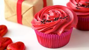 Close up of red sweets for st valentines day stock video footage