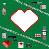 St. Valentines Day Symbols mens Accessories Icons Set Flat Design Royalty Free Stock Photos