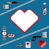 St. Valentines Day Symbols mens Accessories Icons Set Flat Design Stock Photo
