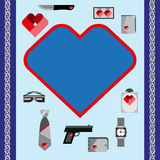 St. Valentines Day Symbols mens Accessories Icons Set Flat Design Royalty Free Stock Photo